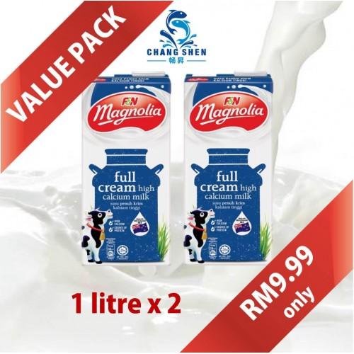 F&N Magnolia UHT Full Cream Milk 1L x 2 Value Pack